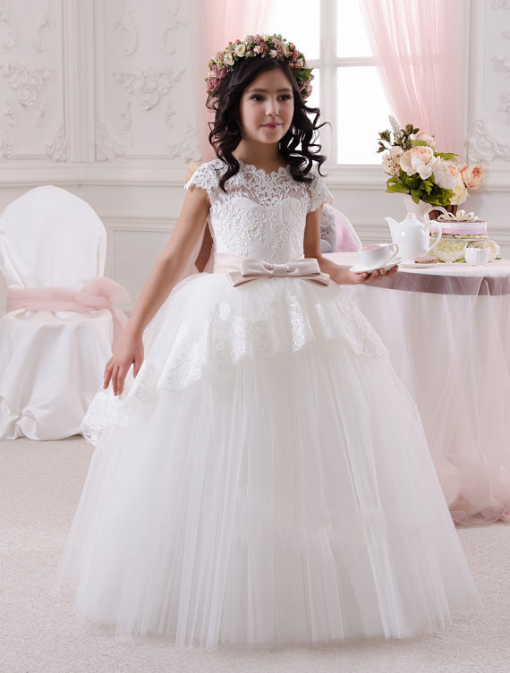 5a75d205b Princess White Lace Flower Girl Dresses For Weddings Beauty Pageant ...